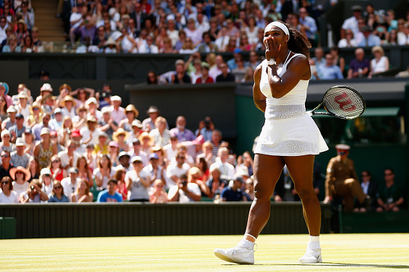 Serena Williams celebrates after winning her sixth Wimbledon title. (Photo by Julian Finney/Getty Images)