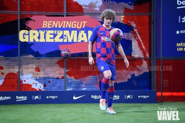 Antoine Griezmann en su presentación con el FC Barcelona. FOTO: Noelia Déniz