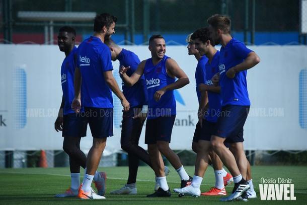 Jugadores del FC Barcelona durante un entrenamiento. FOTO: Noelia Déniz