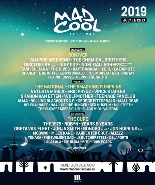 Cartel Oficial del Mad Cool Festival   Foto: Página Oficial de Facebook del Mad Cool