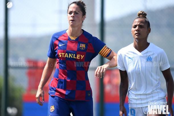 Marta Torrejón jugando un partido ante el Olympique de Marsella. FOTO: Noelia Déniz