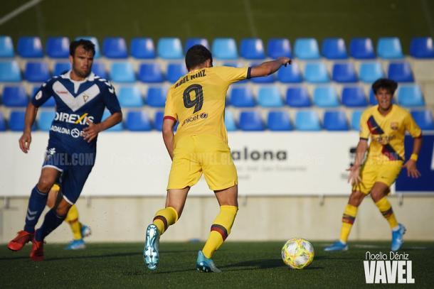 Imagen de archivo del partido de la primera vuelta entre el CF Badalona y el Barça B. FOTO: Noelia Déniz