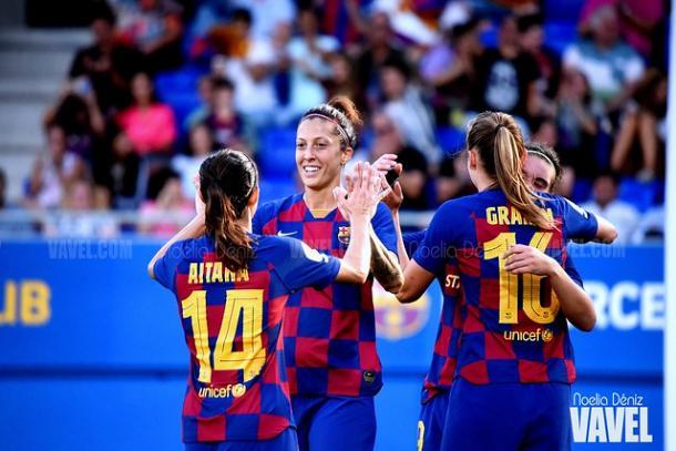 Aitana, Jenni Hermoso y Graham en la goleada ante el Tacón (9-1) | Foto: Noelia Déniz (VAVEL)