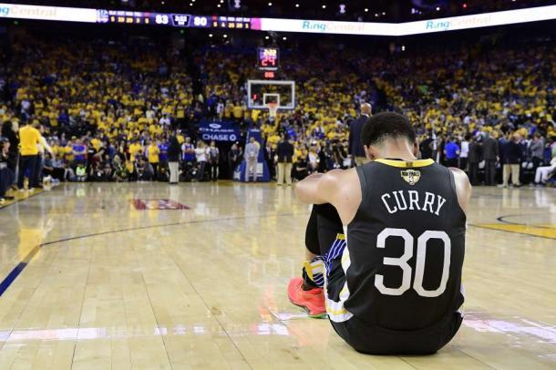 Curry se lamenta tras perder las finales de 2019 / Foto: Sfgate.com