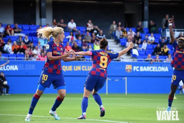 Hamraoui, Marta y Oshoala celebrando un gol. FOTO: Noelia Déniz