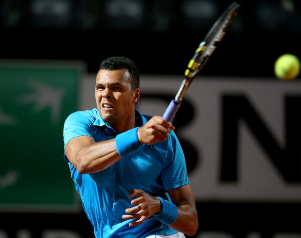 Jo-Wilfried Tsonga blasts a forehand at the 2014 Internazionali BNL D'Italia in Rome/Getty Images