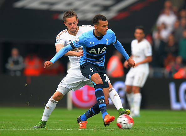 Dele Alli will be tasked with taming Gylfi Sigurdsson on Monday. (Photo: Tony Marshall/Getty Images)