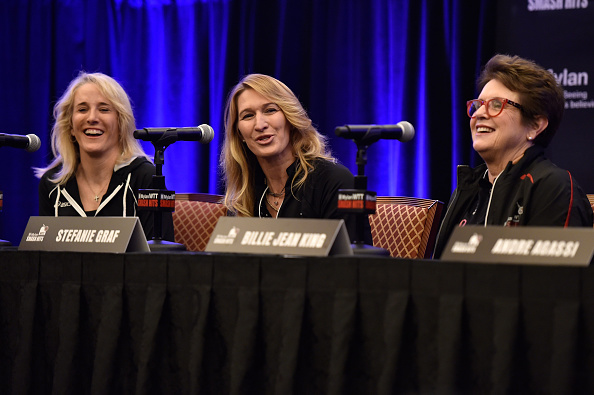 Graf (middle) at a charity event last year with former colleagues Tracy Austin (left) and Billie Jean King (right), Photo credit: David Becker/Getty Images.