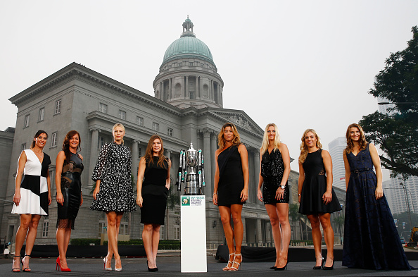Kvitova (third from right) was part of the elite eight which made the WTA Finals last year. Photo credit: Julian Finney.
