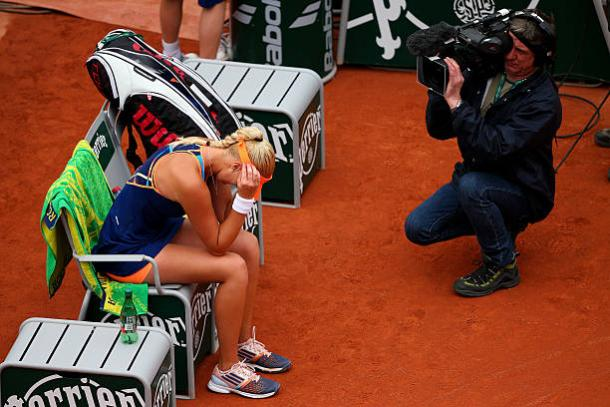 Kristina Mladenovic after she upset Li Na in the opening round of the French Open in 2014 (Getty/Clive Brunskill)