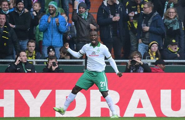 Ujah celebrates goal against Dortmund | Photo: AFP/John MacDougall