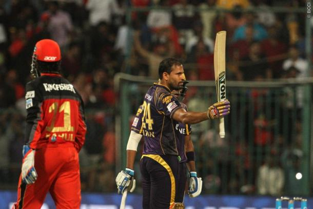 Yusuf Pathan celebrates his match winning half-century | Photo: IPL