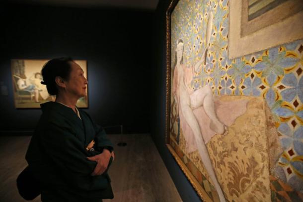 Setsuko Ideta, viuda de Balthus, en la muestra del Thyssen. Foto: Álvaro García, El País.