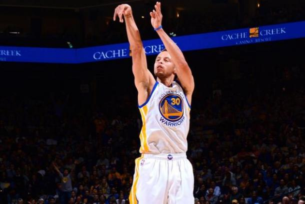 Stephen Curry drained an NBA-record 402 three-pointers in the 2015-16 NBA season. Photo: Getty Images
