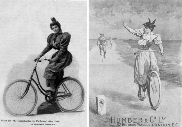Mujeres decimonónicas en bicicleta (Pinterest)