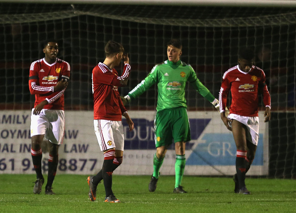 Manchester United's u18 look disheartened as they lose 5-1 to Chelsea in the FA Youth Cup | Photo: John Peters/Manchester United