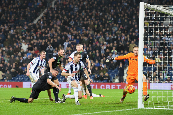 Evans scored his only league goal for The Baggies versus Stoke City in January   (getty)