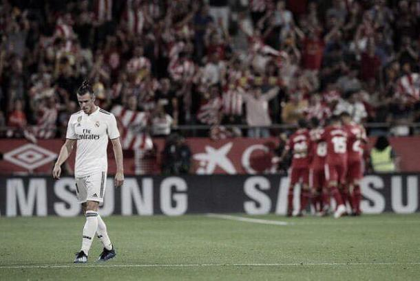 Bale sufriendo el gol del Girona | Foto: Real Madrid CF