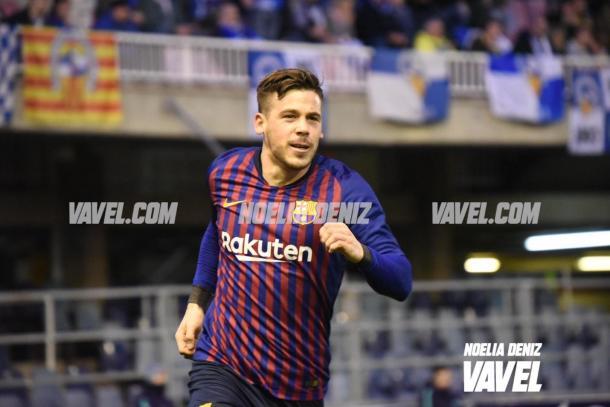 Carles Pérez celebrando su primer gol de la tarde | Foto: Noelia Déniz, VAVEL.