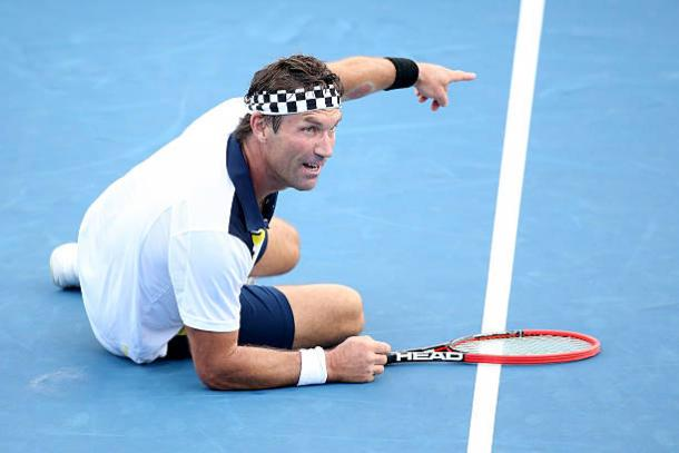 Pat Cash in action during the legends doubles tournament at the 2016 Australian Open (Getty/Michael Dodge)