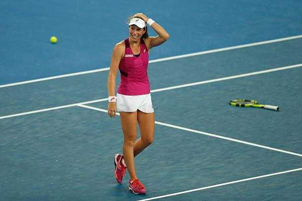 Konta celebrates her fourth round win against Ekaterina Makarova at the 2016 Australian Open (Getty/Zak Kazcmarek)