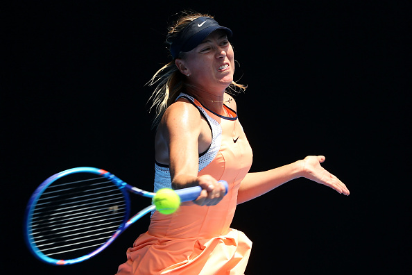 Maria Sharapova hits a forehand at the Australian Open in Melbourne/Getty Images