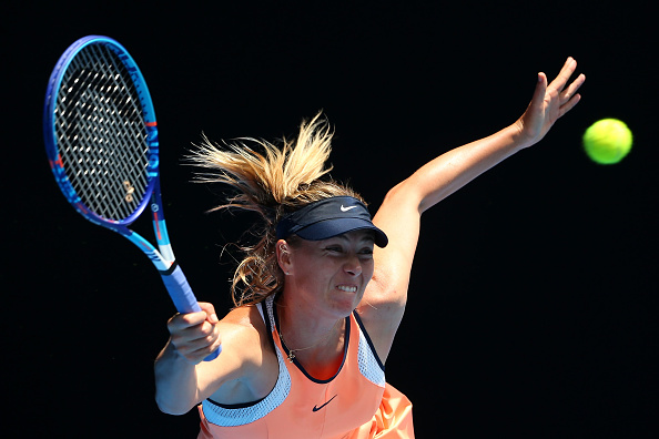 Maria Sharapova hits a forehand return at the Australian Open in Melbourne/Getty Images