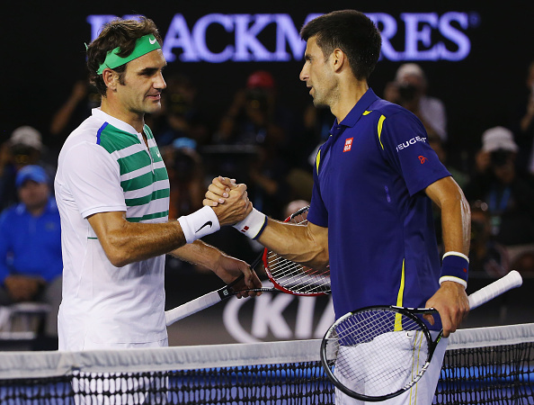 Roger Federer and Novak Djokovic at the Australian Open earlier this year (Photo: Michael Dodge/Getty Images)