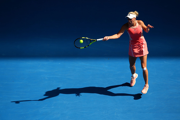Caroline Wozniacki plays a forehand shot during her first round match at the Australian Open against Yulia Putinseva (Photo:Mark Kolbe/Getty Images)