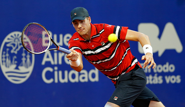 John Isner hitting a forehand shot during his match against Dusan Lajovic in Buenos Aires (Photo:Gabriel Rossi/Getty Images)
