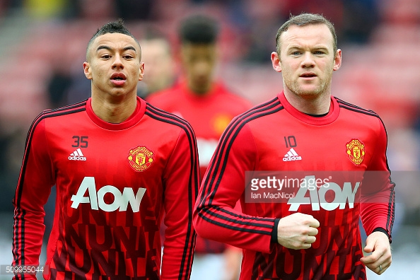 Above: Jesse Lingard training with Manchester United skipper Wayne Rooney | Photo: Getty Images