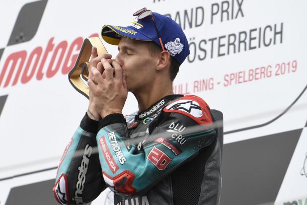 El francés en el podio. Imagen: MotoGP