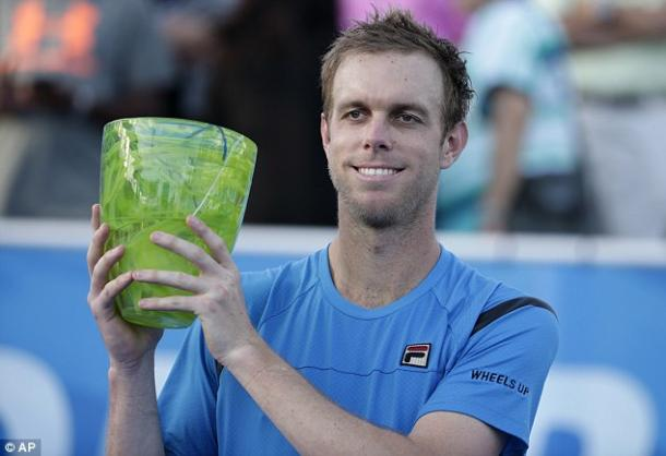 Sam Querrey holding the Delray Beach trophy, the American's first title for 3 and a half years (Photo: DailyMail)
