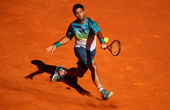 Fernando Verdasco playing a forehand to Juan Monaco in his first round match at the Mutua Madrid Open (Photo: Clive Brunskill/Getty Images)