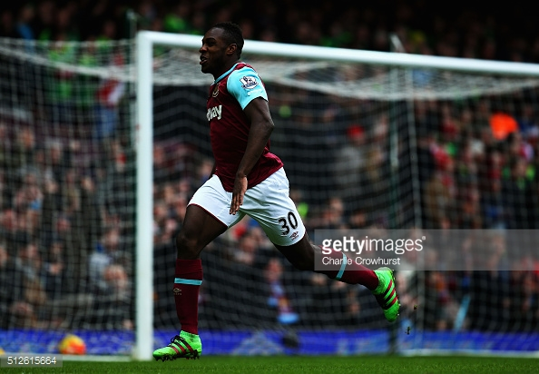 Above: Michail Antonio celebrating his goal in West Ham's 1-0 win over Sunderland last season | Photo: Getty Images