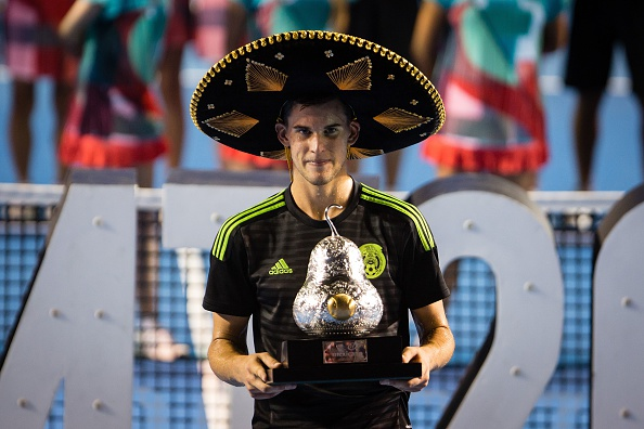 Dominic Thiem poses with the trophy after winning at the Mexican Open.  (Photo by Manuel Velasquez/Anadolu Agency/Getty Images)