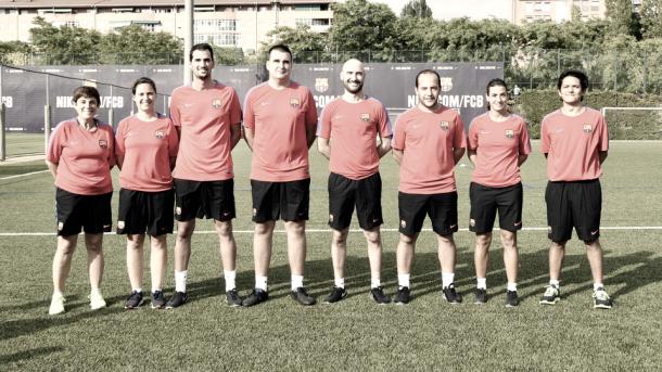 De izquierda a derecha: Isabel Arbonés, Judit València, Oriol Casares, Dani Sánchez, Fran Sánchez, Lluís Cortés, Berta Carles y David Domínguez. Foto: Paco Largo, FCB