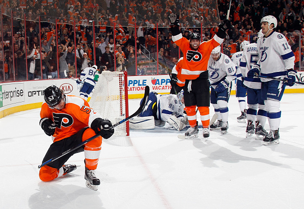Shayne Gostisbehere #53 of the Philadelphia Flyers (l) celebrates his goal at 16:51 of the second period against the Tampa Bay Lightning at the Wells Fargo Center on March 7, 2016 in Philadelphia, Pennsylvania. (Photo by Bruce Bennett/Getty Images)