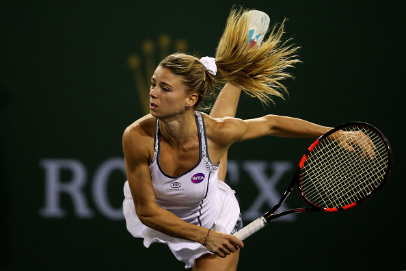 Giorgi following through on her serve Photo: Getty Images / Sean M. Haffey