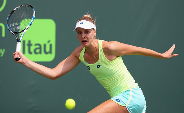 Naomi Broady runs into a forehand at the Miami Open/Getty Images