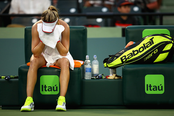 Eugenie Bouchard of Canada shows her frustration against Lucie Hradecka of the Czech Republic in their first round match during the Miami Open. Photo: Getty Images Sport / Clive Brunskill