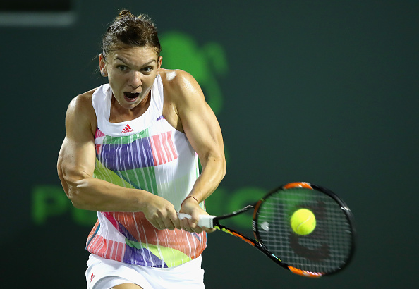 Halep at the Miami Open in March where she made the quarterfinals as well. Photo credit: Clive Brunskill/Getty Images.