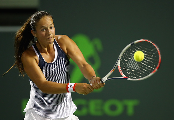 Daria Kasatkina hits a backhand during her loss to Simona Halep in the second round of the Miami Open/Getty Images