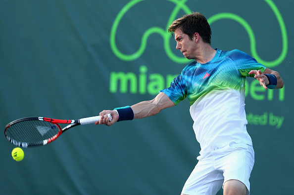 Aljaz Bedene cracks a forehand at the Miami Open/Getty Images