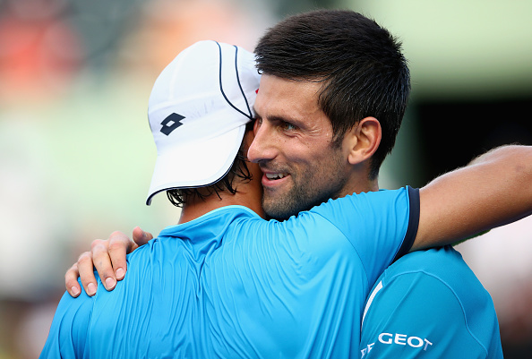 The friendship between the two opponents at the end of the match.
