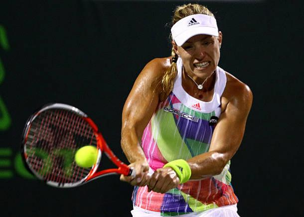 Kerber is coming closer to a maiden successful title defence in Charleston. Photo credit: Mike Ehrmann/Getty Images.