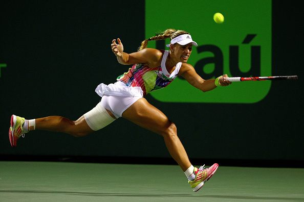 Kerber returns a forehand in her quarterfinal match at the Miami Open last week. Photo credit: Mike Ehrmann/Getty Images.