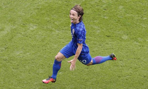 Luka Modric celebrates his volley against Turkey last Sunday (Photo: Getty Images)