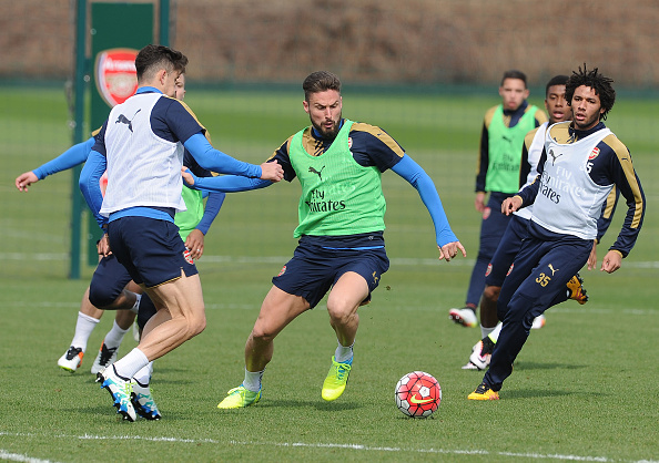 Arsenal in training before Saturday's game against Watford. Photo: Getty Images