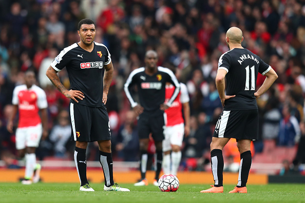 The Watford players stand in frustration after being hit for four. Photo: Getty Images